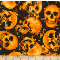 Timeless Treasures Wicked Hot Tossed Skulls Skull