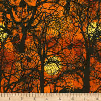 Timeless Treasures Wicked Hot Skull Spiderwebs Orange