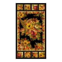 "Timeless Treasures Bountiful Cornucopia 24"" Panel Metallic Black"