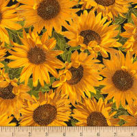 Timeless Treasures Bountiful Sunflowers Metallic Sunflower