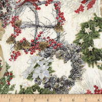 Timeless Treasures Metallic White Christmas Wreaths Cream