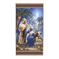 "Timeless Treasures Holy Night Nativity 24"" Panel Blue"