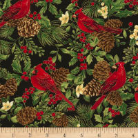 Timeless Treasures Joyful Season Cardinals & Pinecones Metallic Black