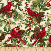 Timeless Treasures Joyful Season Cardinals & Pinecones Metallic White