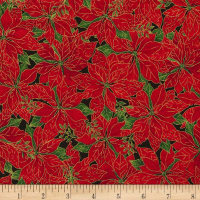 Timeless Treasures Joyful Season Packed Poinsettias Metallic Red