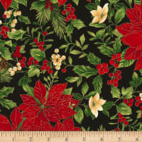 Timeless Treasures Joyful Season Poinsettias Metallic Black
