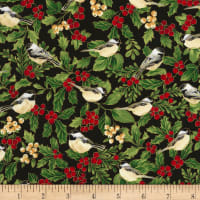 Timeless Treasures Joyful Season Holly & Birds Metallic Black
