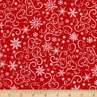 Timeless Treasures Baby It's Cold Outside Scroll & Snowflakes Red