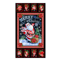 "Timeless Treasures North Pole 24"" Merry Christmas Panel Black"
