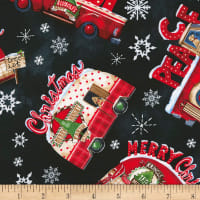 Timeless Treasures North Pole Tossed Plaid Cars Black