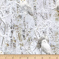 Timeless Treasures Snowscape White Owls Owl