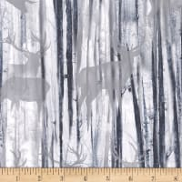 Timeless Treasures Snowscape Deer Silhouette Grey