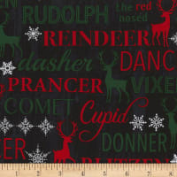 Timeless Treasures Christmas Cabin Reindeer Names Reindeer