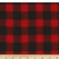 Timeless Treasures Christmas Cabin Buffalo Check Red