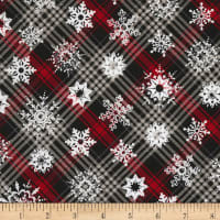 Timeless Treasures Christmas Cabin Snowflakes On Plaid Plaid