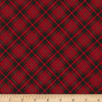 Timeless Treasures Christmas Cabin Bias Plaid Red