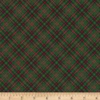 Timeless Treasures Christmas Cabin Bias Plaid Green