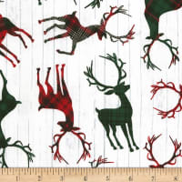 Timeless Treasures Christmas Cabin Tossed Deer Silhouettes White