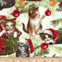 Timeless Treasures Christmas Cats Cream