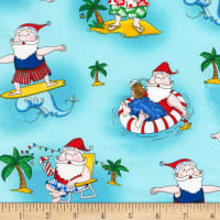 Timeless Treasures Surfing Santa Teal