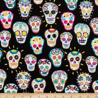Timeless Treasures Metallic Sugar Skulls Black
