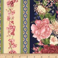 "Timeless Treasures Metallic Sakura 11"" Flower Stripe Navy"