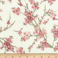 Timeless Treasures Metallic Sakura Blossom Cream