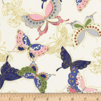 Timeless Treasures Metallic Sakura Quilted Butterflies Cream