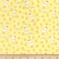 Timeless Treasures Flannel Cotton Tale Farm Chickens & Chicks Yellow