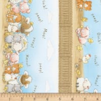 "Timeless Treasures Flannel Cotton Tale Farm 11"" Farm Stripe Sky"