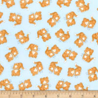 Timeless Treasures Flannel Cotton Tale Farm Cats Blue