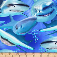 Timeless Treasures Sea Life Shark Attack Sharks Shark