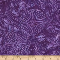 Timeless Treasures Tonga Batiks Gecko Chrysanthemum Floral Purple