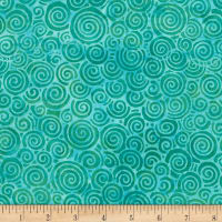 "Timeless Treasures 106""Batik Wide Back Jazz Swirl Emerald"