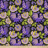 Jane Sassaman Folk Tales Kerchief Purple