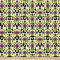Jane Sassaman Folk Tales Flowered Coverlet Purple