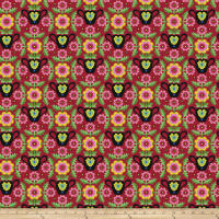 Jane Sassaman Folk Tales Flowered Coverlet Red