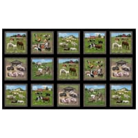 "Farm Animals 24"" Allover Panel Black"