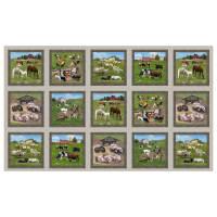 "Farm Animals 24"" Allover Panel Sepia"