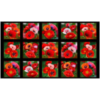 "Poppies 24"" Panel Black"