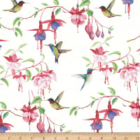 Fuchsias and Hummingbirds White