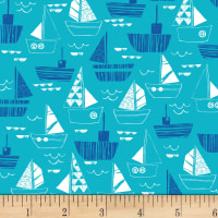 Nautical Fish Boats Dark Aqua