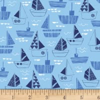 Nautical Fish Boats Blue