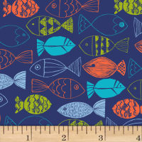Nautical Fish Fish Allover Light Navy