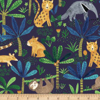 Jungle Fever Jungle Animals Navy Blue
