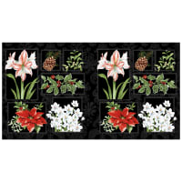 "Holidays Remembered Floral 22"" Panel Black"