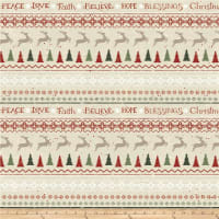 Home For Christmas Novelty Stripe Light Khaki