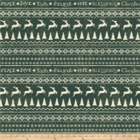 Home For Christmas Novelty Stripe Dark Forest