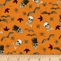 Something Wicked Skulls & Bats Orange