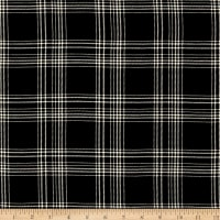 Telio Vangogh Rayon Twill Print Plaid Black Ecru